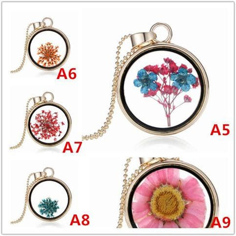 Golden Wishing Glass Locket Dried Flower Necklace SP179829