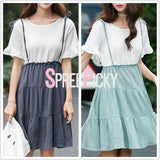 Green/Grey Blue Sweet Dress SP179889