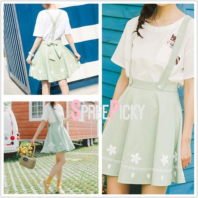 Green Sweet Floral Suspender Skirt SP179830