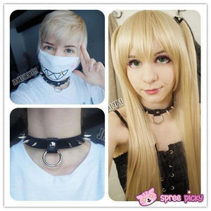 Halloween Hand Made Gothic Punk Rivet Black Rock Necklace with Ring SP141267 Kawaii Aesthetic Fashion - SpreePicky