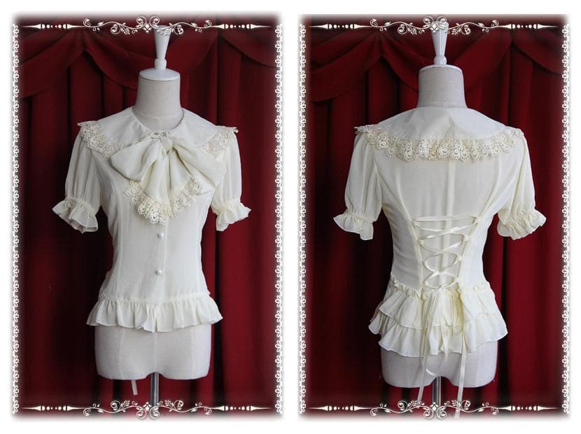 【Infanta】Lolita Sweet 2 Bow knots Short Sleeve Chiffon Blouse SP140474 - SpreePicky  - 1