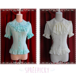 【Infanta】Lolita Sweet 2 Bow knots Short Sleeve Chiffon Blouse SP140474 - SpreePicky  - 2