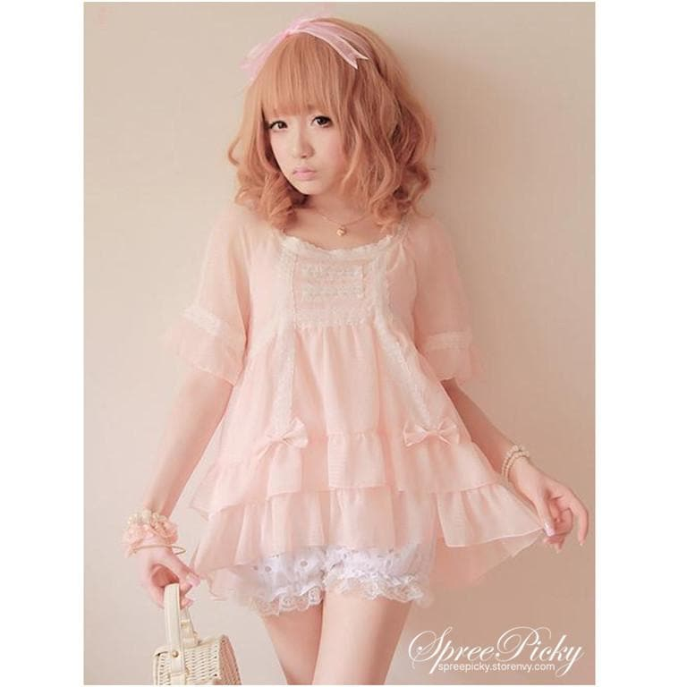 J-Fashion Waffle with Bows Chiffon Blouse Top SP140367 - SpreePicky  - 1