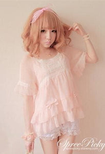 J-Fashion Waffle with Bows Chiffon Blouse Top SP140367 - SpreePicky  - 3