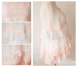 J-Fashion Waffle with Bows Chiffon Blouse Top SP140367 - SpreePicky  - 5