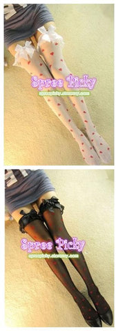Kawaii Bow with Heart tights stocking  SP140426 - SpreePicky  - 2