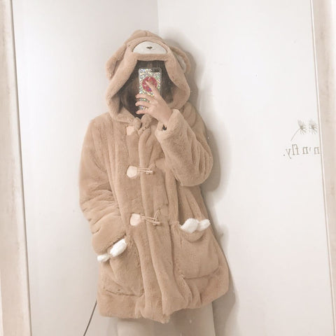 Kawaii Fluffy Fleece Bear Coat SP1710974