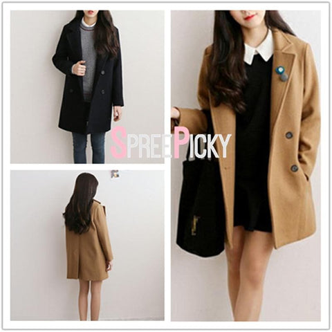 Khaki/Black Sweet Preppy Style Woolen Coat SP1710938