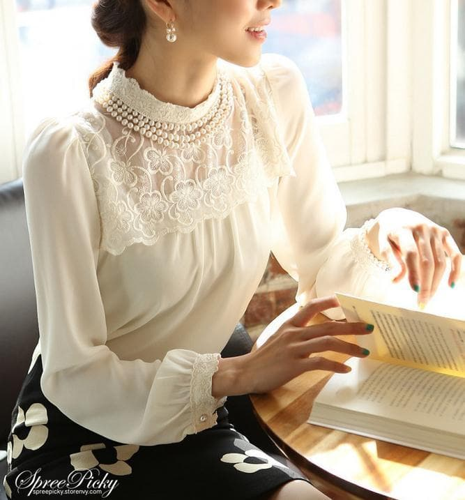 Lace Lapel Bubble Sleeve Chiffon Blouse SP140520 - SpreePicky  - 1