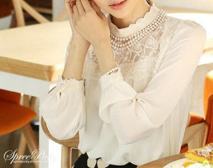 Lace Lapel Bubble Sleeve Chiffon Blouse SP140520 - SpreePicky  - 2
