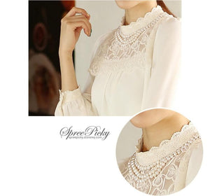 Lace Lapel Bubble Sleeve Chiffon Blouse SP140520 - SpreePicky  - 4
