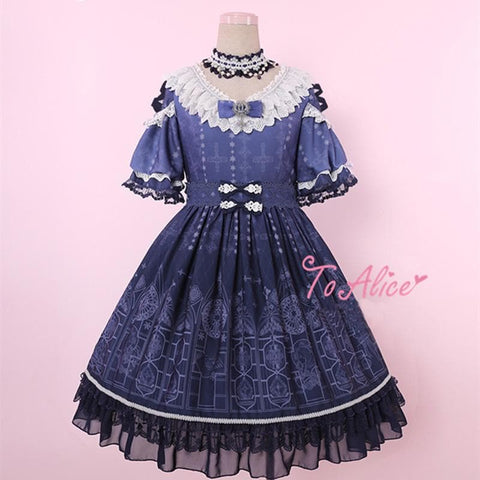 Light Blue/Navy Blue Lolita Church Window Lace Dress SP179787