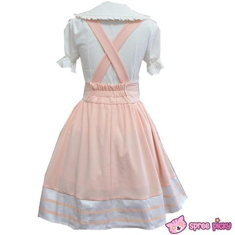 Light Orange School Uniform Suspender Skirt Only SP141083 - SpreePicky  - 3