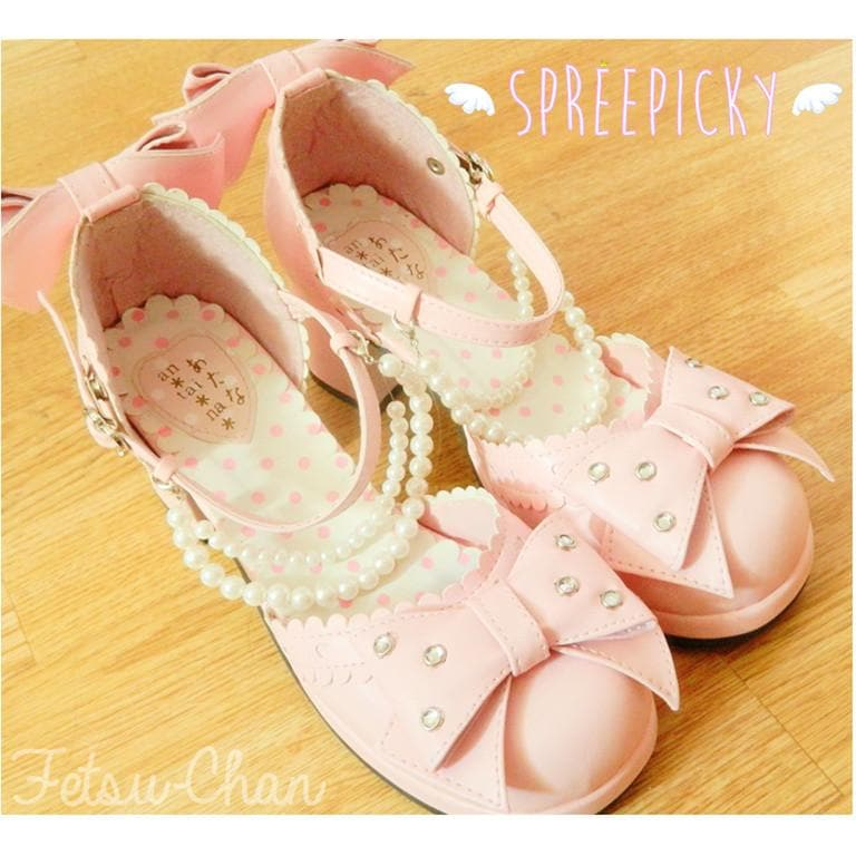 Little Mermaid Pearl Bead Bow Lolita Princess Platform Shoes SP140388 - SpreePicky  - 1