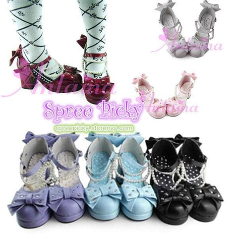 Little Mermaid Pearl Bead Bow Lolita Princess Platform Shoes SP140388 - SpreePicky  - 2