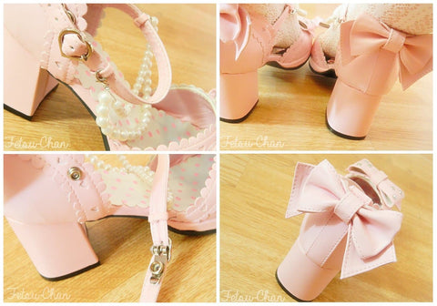 Little Mermaid Pearl Bead Bow Lolita Princess Platform Shoes SP140388 - SpreePicky  - 5