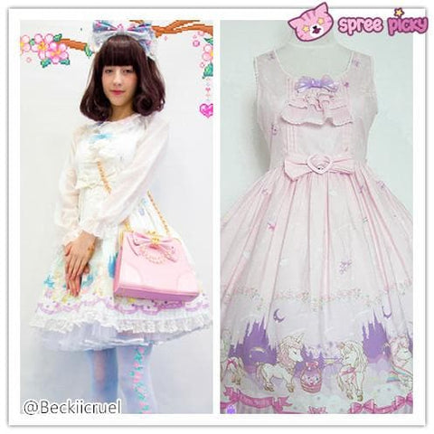 Lolita Chess Story [The Unicorn Castle] Pink/Blue JSK Jumper Skirt Dress SP140432