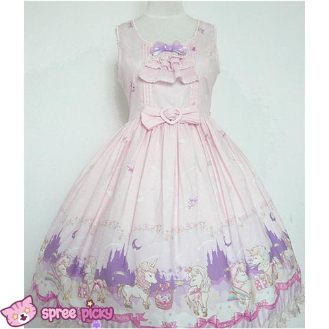Lolita Chess Story [The Unicorn Castle] Pink/Blue JSK Jumper Skirt Dress SP140432 - SpreePicky  - 2