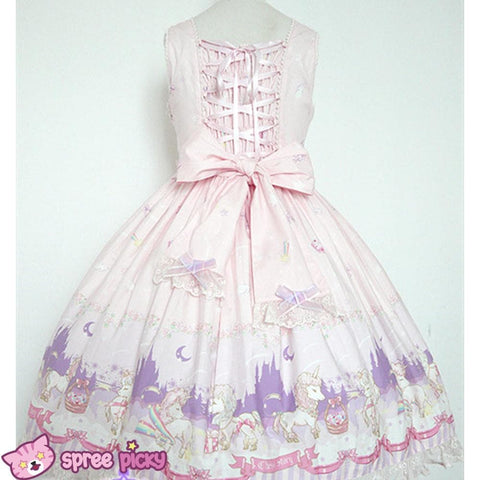 Lolita Chess Story [The Unicorn Castle] Pink/Blue JSK Jumper Skirt Dress SP140432 - SpreePicky  - 3