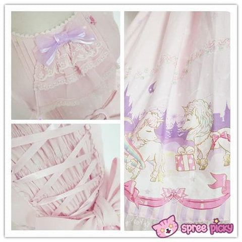 Lolita Chess Story [The Unicorn Castle] Pink/Blue JSK Jumper Skirt Dress SP140432 - SpreePicky  - 5