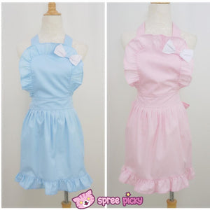 Lolita Kawaii Bow Maid Apron Free Ship SP141124 - SpreePicky  - 2