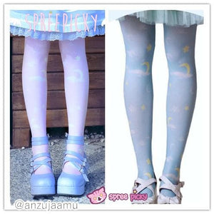 Lolita MuFish Original Design Moons And Stars Hiding In The Cloud Printing Tights SP140513 - SpreePicky  - 1