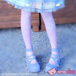 Lolita MuFish Original Design Moons And Stars Hiding In The Cloud Printing Tights SP140513 - SpreePicky  - 2