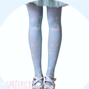 Lolita MuFish Original Design Moons And Stars Hiding In The Cloud Printing Tights SP140513 - SpreePicky  - 3