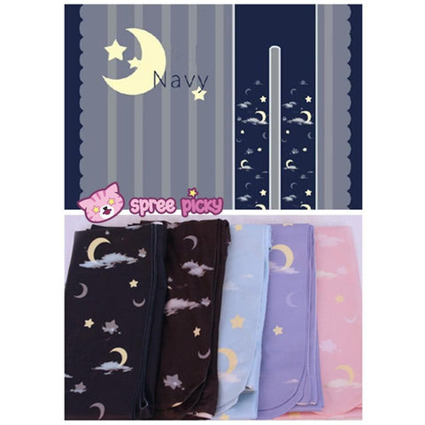 Lolita MuFish Original Design Moons And Stars Hiding In The Cloud Printing Tights SP140513 - SpreePicky  - 4
