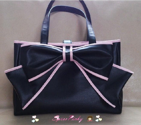 Lolita big bow square soft hand  bag - black/purple P140452 - SpreePicky  - 1