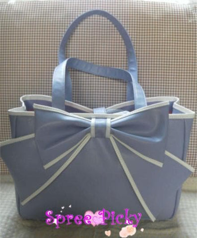 Lolita big bow square soft hand  bag - black/purple P140452 - SpreePicky  - 2