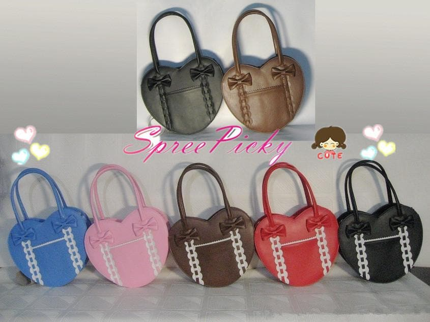 Lolita winter heart with ribbon hand bag - 8 colors - free shipping SP140456 - SpreePicky  - 1