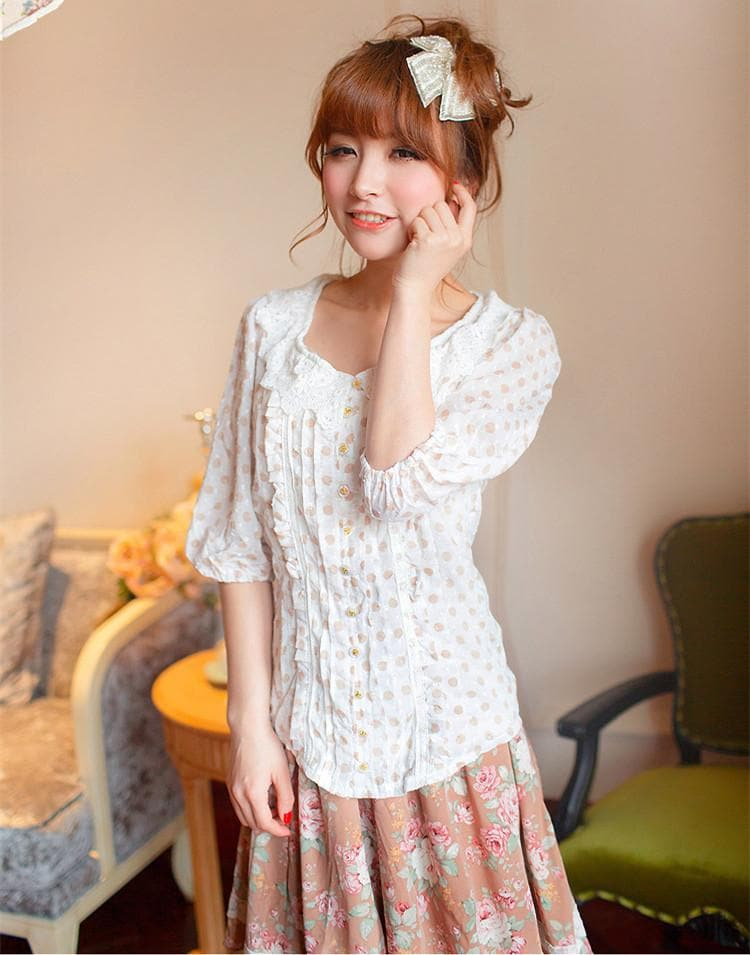 Loose Dots Half Sleeve Blouse Top SP140556 - SpreePicky  - 1