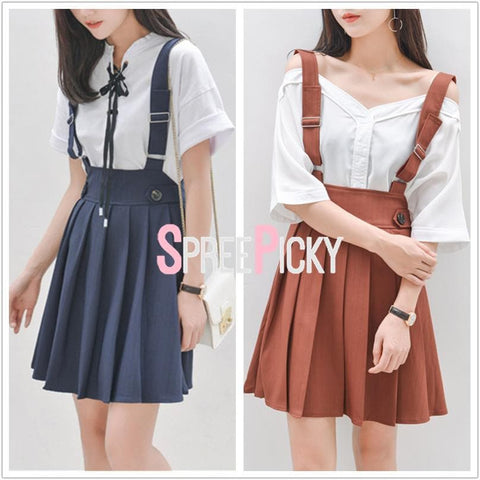Navy/Deep Orange Preppy Style Suspender Skirt SP179888