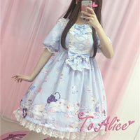 Navy/Pink/Blue Pastel Lolita Printing Dress SP179788