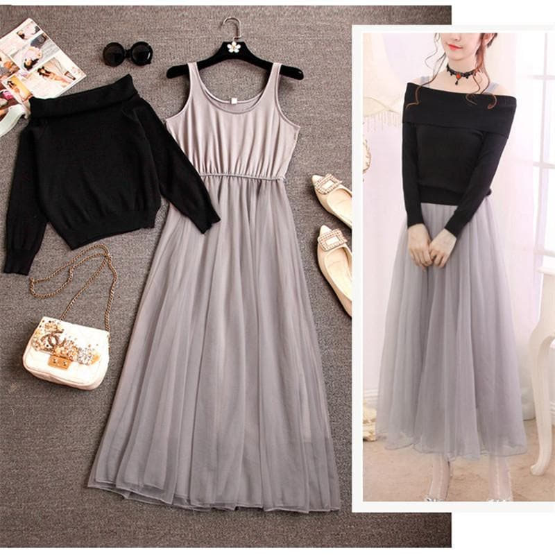 6152489c51c6 Pink Beige Black White Fairy Off-Shoulder Sweater Dress SP1710933 ...