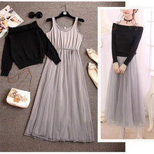 Load image into Gallery viewer, Pink/Beige/Black/White Fairy Off-Shoulder Sweater Dress SP1710933