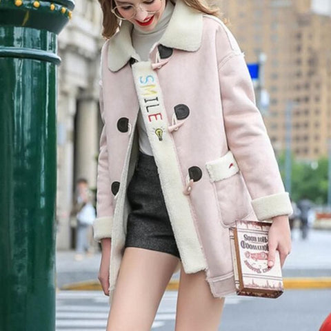 Pink/Blue Kawaii Winter Fluffy Fleece Midi Coat SP1710910