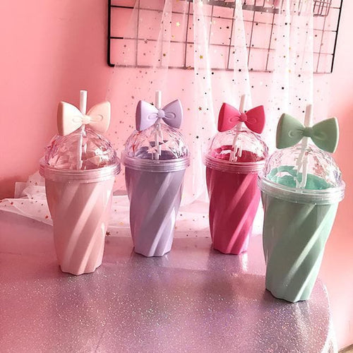 Pink/Green/Purple/Hot Pink Pastel Bow Straw Bottle SP179838