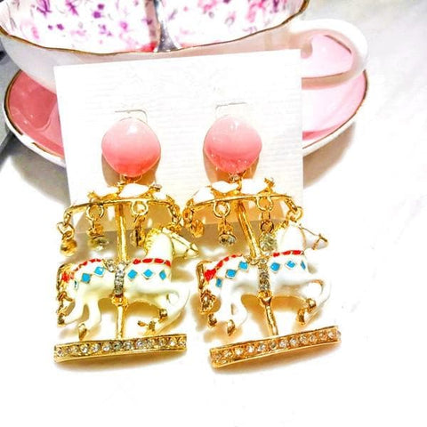 Pink/Light Blue Carousel Ear Stud/Ear Clip SP1811984