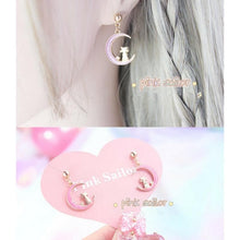 Load image into Gallery viewer, Pink/Purple/Blue Sailor Moon Luna Earrings SP1711340