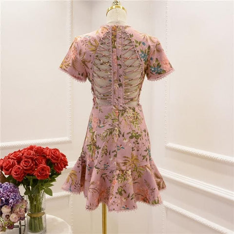 Pink/Yellow Elegant Floral Laced Dress SP179841