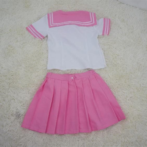 {Set}Pink Sailor Seifuku School Uniform  Top and Pleated Skirt SP140879 - SpreePicky  - 4