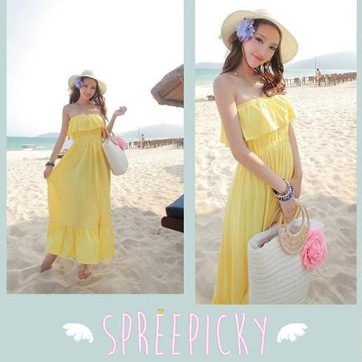 Pure Color Flouncing Sundress SP140578 - SpreePicky  - 1