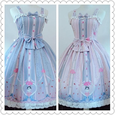 [Reservation] Blue/Pink Pastel Kitty Love Lolita Dress SP179899