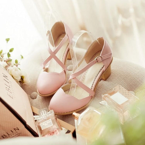 Round Toe Bandage Thick Heels Sandal Shoes SP140922 - SpreePicky  - 2