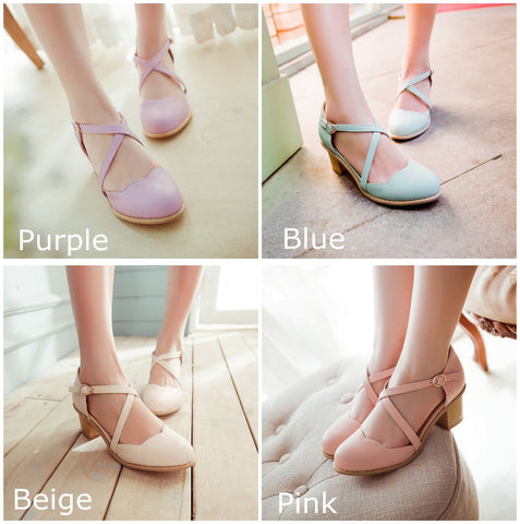 Round Toe Bandage Thick Heels Sandal Shoes SP140922