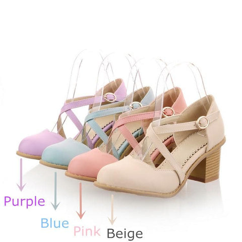 Round Toe Bandage Thick Heels Sandal Shoes SP140922 - SpreePicky  - 3