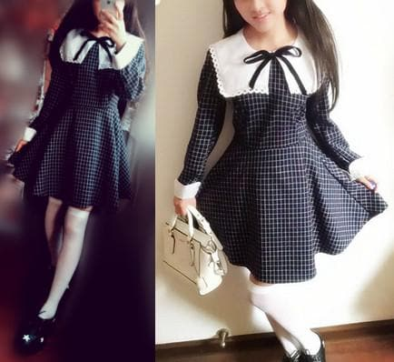 Sailor School Uniform Vintage Grids Dress SP141341 - SpreePicky  - 3