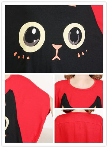 Summer Cat Printing Bat-wings T-shirt SP140583 - SpreePicky  - 2